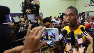 Metta World Peace of the Los Angeles Lakers is interviewed during the Lakers' media day Sept. 28, 2015, in El Segundo, Calif.FREDERIC J. BROWN/AFP/Getty Images