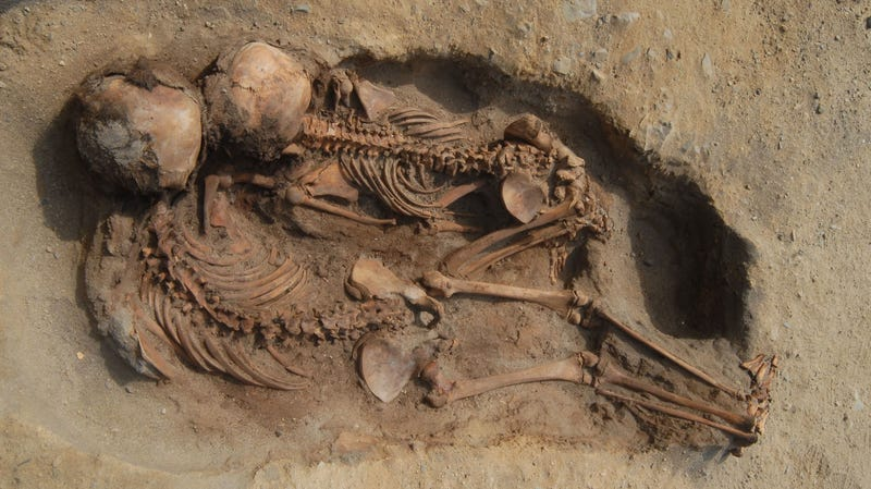 Skeletons of two children found at the Huanchaquito-Las Llamas site in Peru.