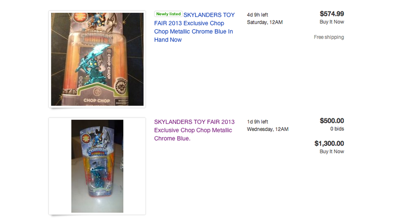 Illustration for article titled Ungrateful Toy Fair-goers Already Hawking Exclusive Skylanders on eBay