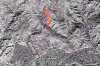 EO-1 Satellite image of the Aliso Canyon gas leak on January 1st. Image: NASA
