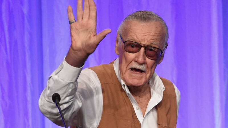 Stan Lee speaks onstage at 2017's Hollywood Foreign Press Association's Grants Banquet.