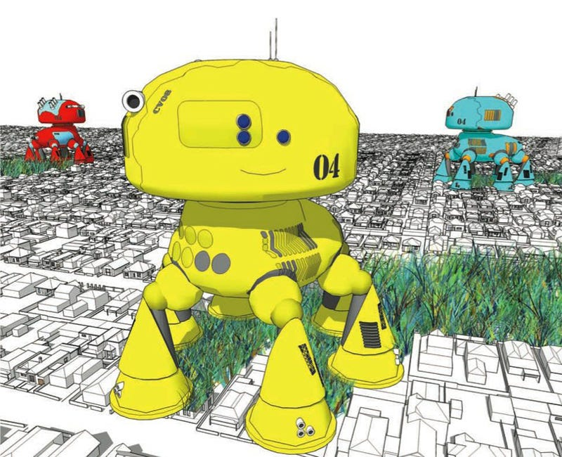 Illustration for article titled Suburb-Eating Robots Run on Fat Reclaimed from Liposuction