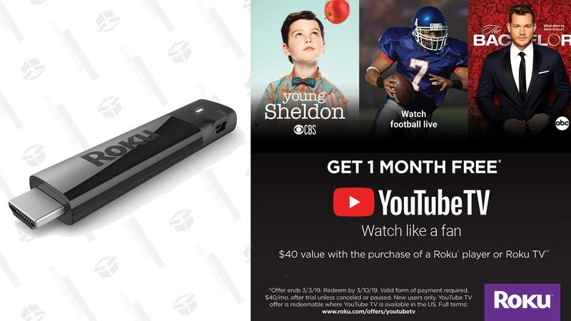 Roku Streaming Stick + 1 Month YouTube TV + $15 Vudu Credit | $59 | WalmartRoku Streaming Stick + 1 Month YouTube TV  | $60 | Amazon