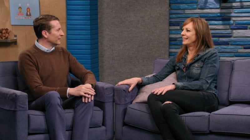 Scott Aukerman (left), Allison Janney