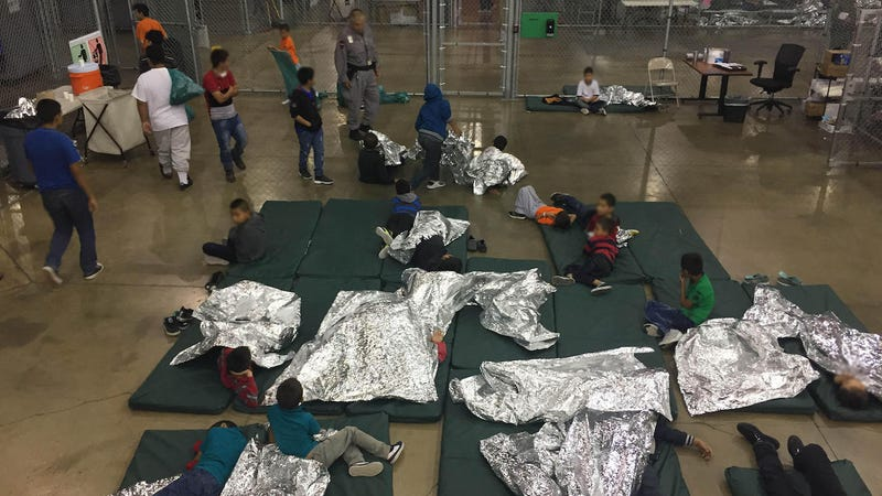 Kids in the Customs and Border Protection central processing center in McAllen, Texas a year ago in June of 2018