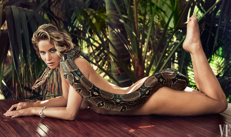 Illustration for article titled JLaw Is Pretty Chill For a Naked Person With Snake On Her Butt