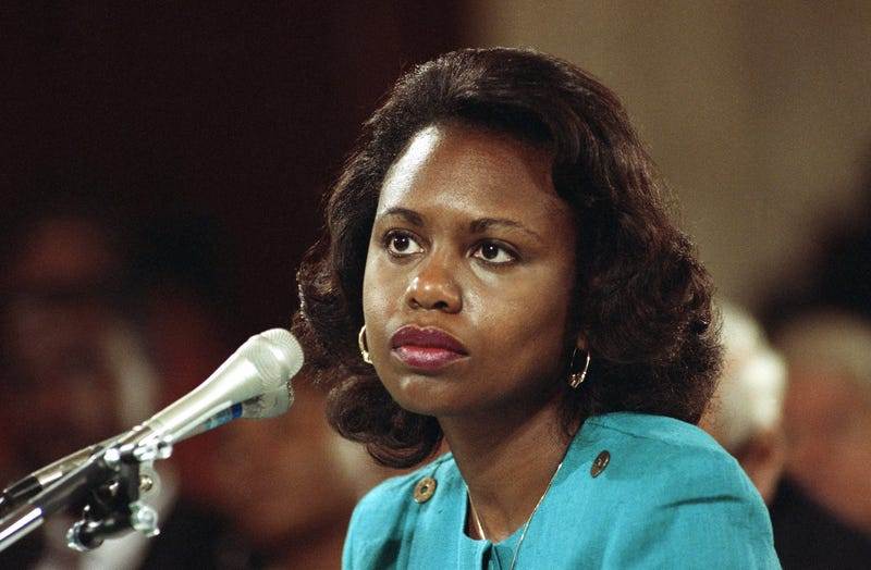This Oct. 11, 1991, file photo shows then-University of Oklahoma law professor Anita Hill testifying before the Senate Judiciary Committee on Capitol Hill in Washington, D.C. (AP Images)