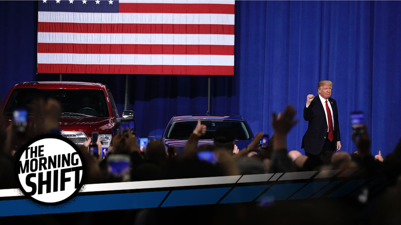 Donald Trump speaking to auto workers in Michigan about his plans for the reduction of job outsourcing from the United States. Photo credit: Bill Pugliano/Stringer/Getty Images