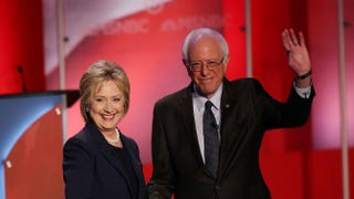 Democratic presidential candidates Hillary Clinton and Bernie Sanders shake hands at the start of their MSNBC Democratic Candidates Debate Feb. 4, 2016, in Durham, N.H.  Justin Sullivan