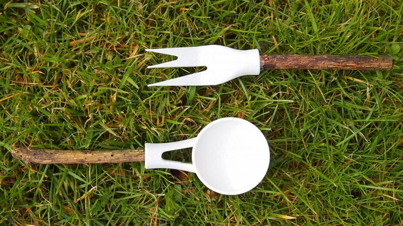 Illustration for article titled Camping Cutlery Adapters Make Your Marshmallow Stick Far More Useful