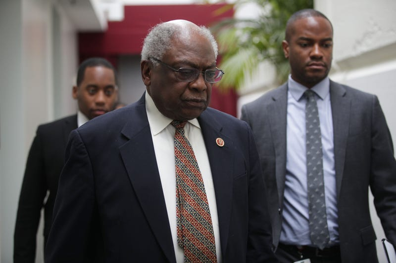 House Majority Whip Rep. James Clyburn (D-SC) arrives at a House Democrats meeting at the Capitol May 22, 2019 in Washington, DC.