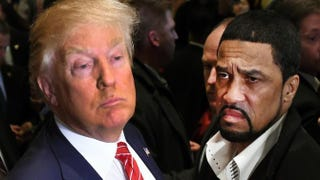 Republican presidential candidate Donald Trump and the Rev. Darrell Scott, senior pastor of the New Spirit Revival Center in Cleveland Heights, speak to the press after meetings with prominent African-American clerics at the Trump Tower in New York City on Nov. 30, 2015.TIMOTHY A. CLARY/AFP/Getty Images