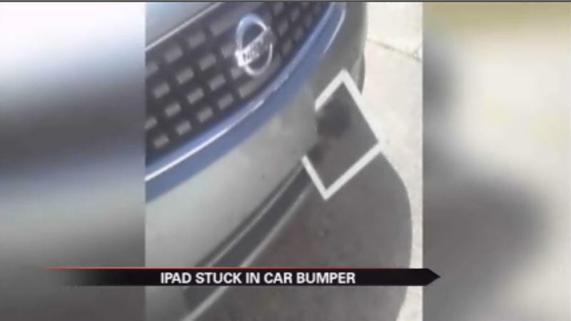 Illustration for article titled This Flying iPad Got Wedged In A Car Bumper