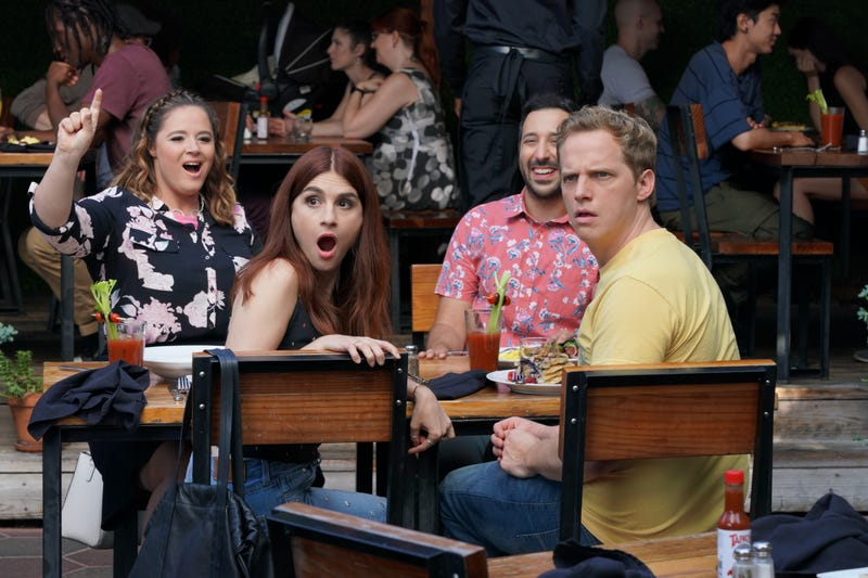 Kether Donohue, Aya Cash, Desmin Borges, and Chris Geere