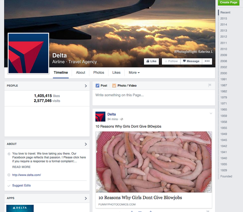 Illustration for article titled Delta's Facebook Page Just Wants To Talk About Bl0wjobs Right Now