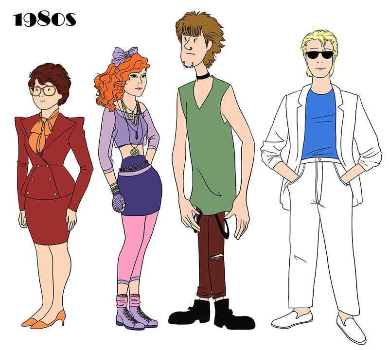 dress style 1980 cartoons