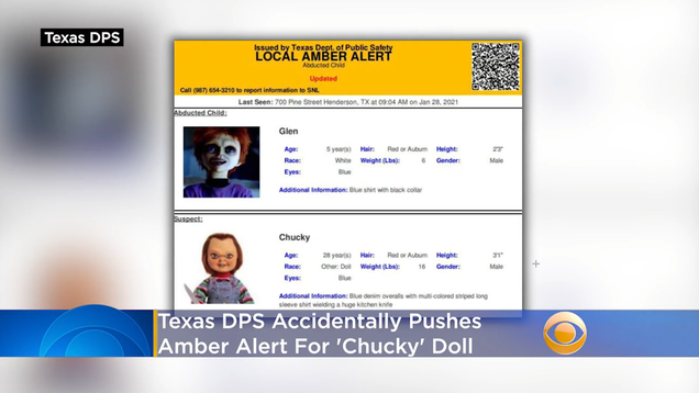 Texas Accidentally Posts Amber Alerts for Chucky, the Killer Doll, and His Creepy Eunuch Son