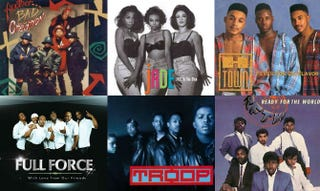 Top row: Another Bad Creation; Jade; H-Town. Bottom row: Full Force; Troop; Ready for the World.Amazon.com