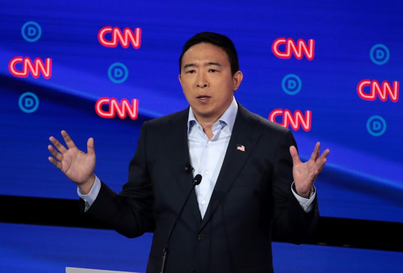 Democratic presidential candidate former tech executive Andrew Yang speaks during the Democratic Presidential Debate at the Fox Theatre July 31, 2019, in Detroit.
