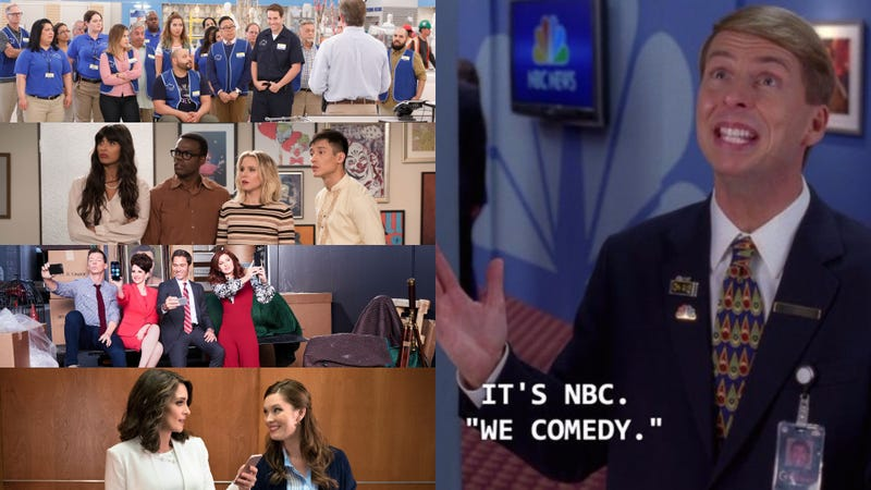 The almighty Kenneth Parcell (Screenshot: 30 Rock) looks down upon his creation. From top: Superstore (Photo: Evans Vestal Ward/NBC), The Good Place (Photo: Colleen Hayes/NBC), Will & Grace (Photo: Andrew Eccles/NBC), Great News (Photo: Colleen Hayes/NBC)