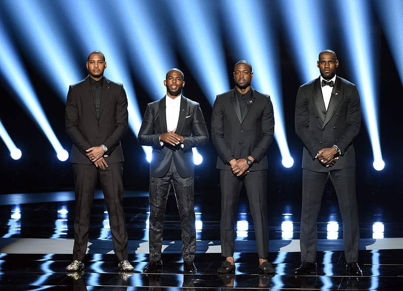 NBA players Carmelo Anthony, Chris Paul, Dwyane Wade and LeBron James at the 2016 ESPYS at Microsoft Theater on July 13, 2016, in Los Angeles (Kevin Winter/Getty Images)