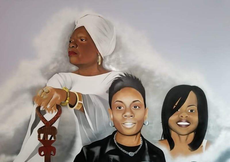 Mural of Maya Angelou, Shani Baraka and Rayshon Holmes (courtesy of the Shani Baraka Women's Resource Center)