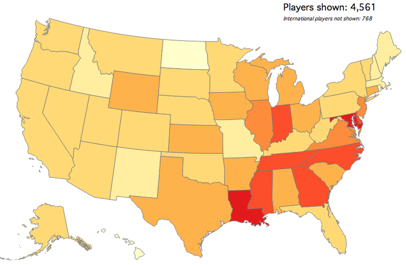 Illustration for article titled Map: Which States Produce The Most College Basketball Recruits?
