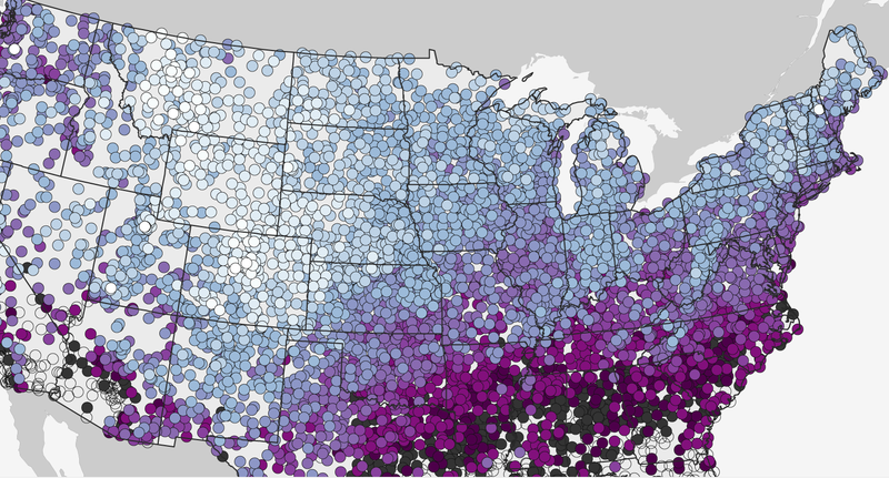 Illustration for article titled Look On This Map of First Snowfalls Across America, Ye Mighty, and Despair