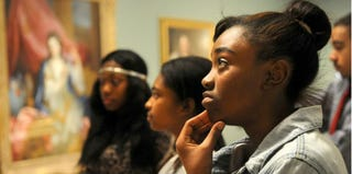 Brittany Woods Middle School students Jamesha Harris, Mikela Gray and Chanda Perry (Sid Hastings/St. Louis Post-Dispatch)