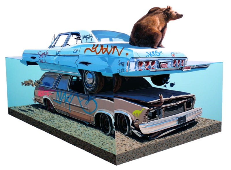 Illustration for article titled Josh Keyes: A Juxtaposition Of Car And Nature