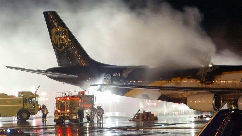 A UPS cargo flight on fire at Philadelphia International Airport, 2006.