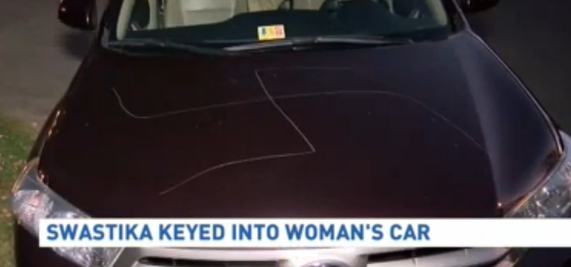 An image of a swastika that was apparently keyed into an elderly Virginia woman's SUVWJLA