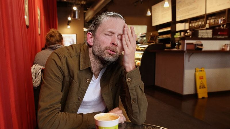 Illustration for article titled Great News, Radiohead Fans! Thom Yorke Was Recently Spotted Smacking His Own Head Like Someone Trying To Think Hard