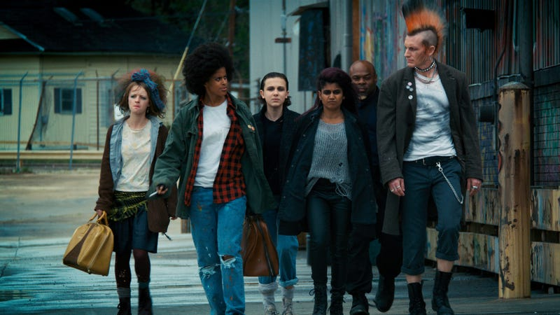 Anna Jacoby-Heron (left), Gabrielle Maiden, Millie Bobby Brown, Linnea Berthelsen, Kai Greene, James Landry Hébert (Photo: Netflix)