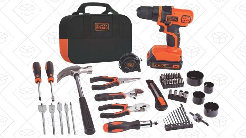 Set de herramientas Black & Decker con taladro de 20 voltios, $60