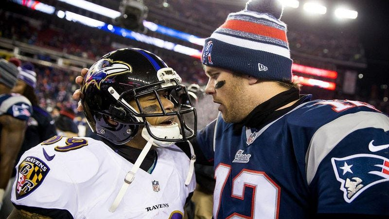New England Patriots quarterback Tom Brady greets Baltimore Ravens wide receiver Steve Smith after the Patriots narrowly defeated the Ravens 35-31 last Saturday. (Photo: Baltimore Ravens)