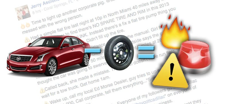 Illustration for article titled Idiot Shocked Spare Tires Aren't Standard Anymore:#BoycottCadillac