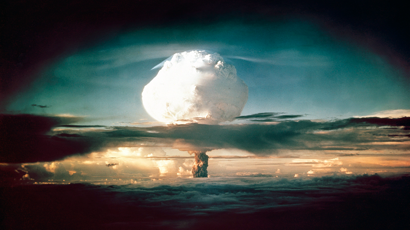 """The mushroom cloud from """"Ivy Mike"""" rises above in the Marshall Islands in 1952. (Photo: AP)"""