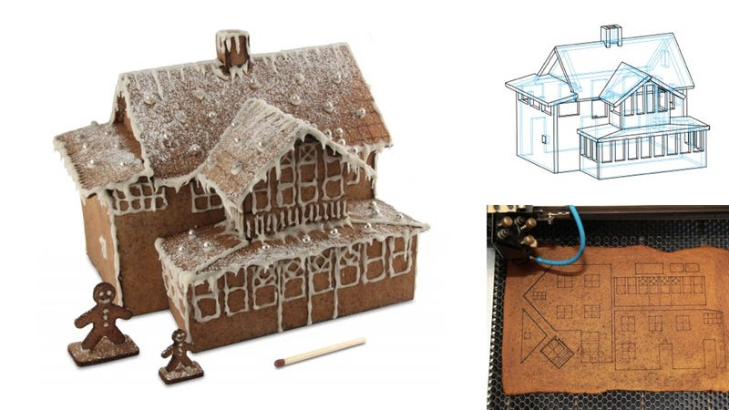 Illustration for article titled Why Not Build This Year's Gingerbread House Using CAD and Lasers?