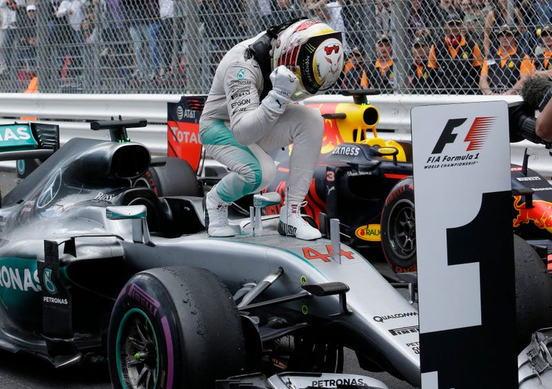 Lewis Hamilton actually hasn't done this since October. Unless this is something he does in his living room. Photo credit: AP Photo/Claude Paris
