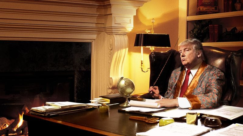 Illustration for article titled Trump Sits Down Beside Fire With Quill And Ink For Evening Writing Out Tweets
