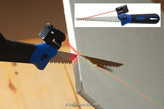 Illustration for article titled Laser Guided Hand Saw Transforms an Ordinary Tool Into an Ordinary Tool...With a Laser