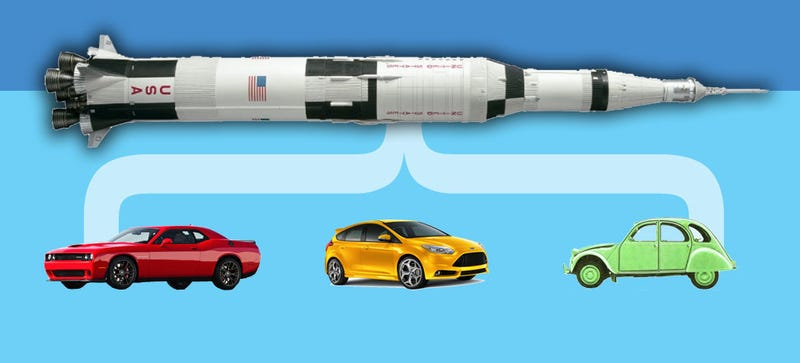 Illustration for article titled How Many Hellcats Would It Take To Match A Moon Rocket?
