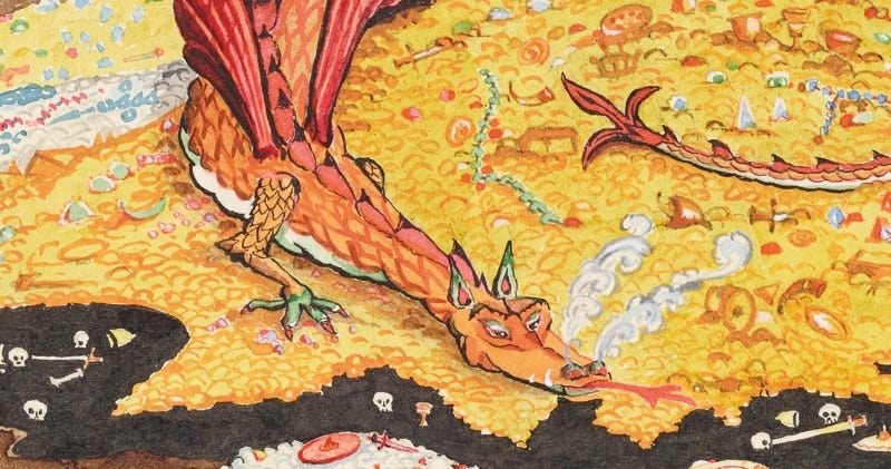 Detail from Conversation with Smaug, July 1937. Bodleian MS. Tolkien Drawings 30. © The Tolkien Estate Limited 1937