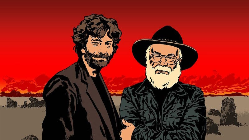 Image: Illustration of Neil Gaiman and Terry Pratchett for BBC Radio 4's Good Omens