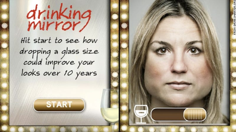 Illustration for article titled Scotland Launches 'Drinking Mirror' App to Scare Vain Women Away from Drinking Alcohol