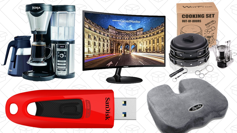 Illustration for article titled Saturday's Best Deals: Samsung Monitors, Ninja Coffee Bar, Camping Pans, and More