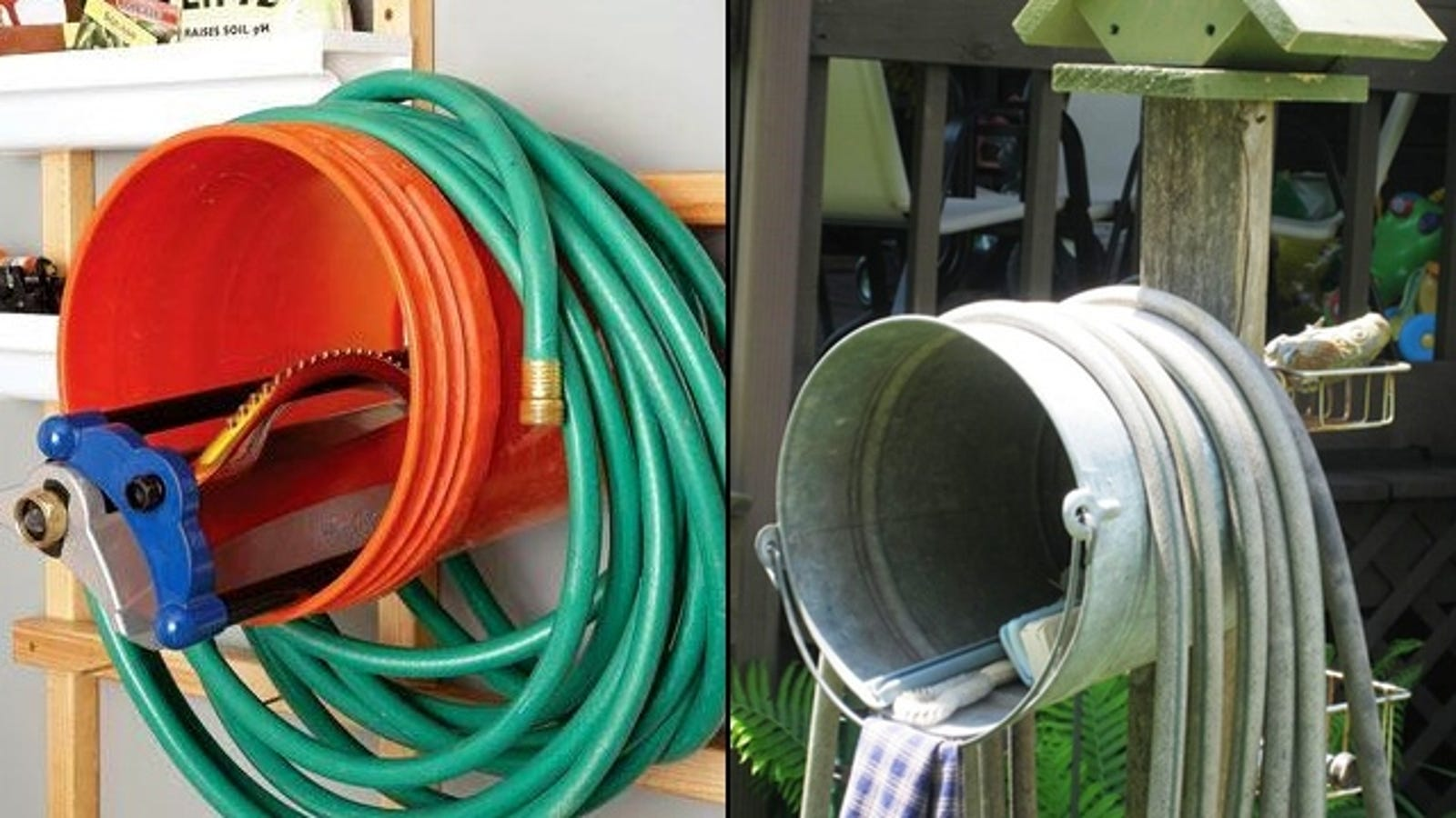 Wall Mount A Bucket To Keep Your Garden Hose Under Control