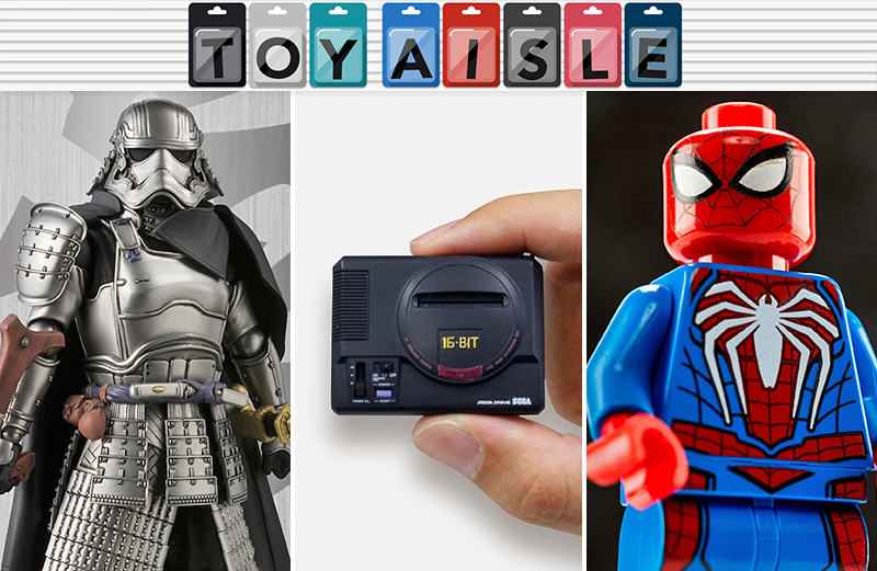Illustration for article titled Not Even Samurai Captain Phasma and a Lego PS4 Spider-Man Can Compete With This Tiny Sega Genesis