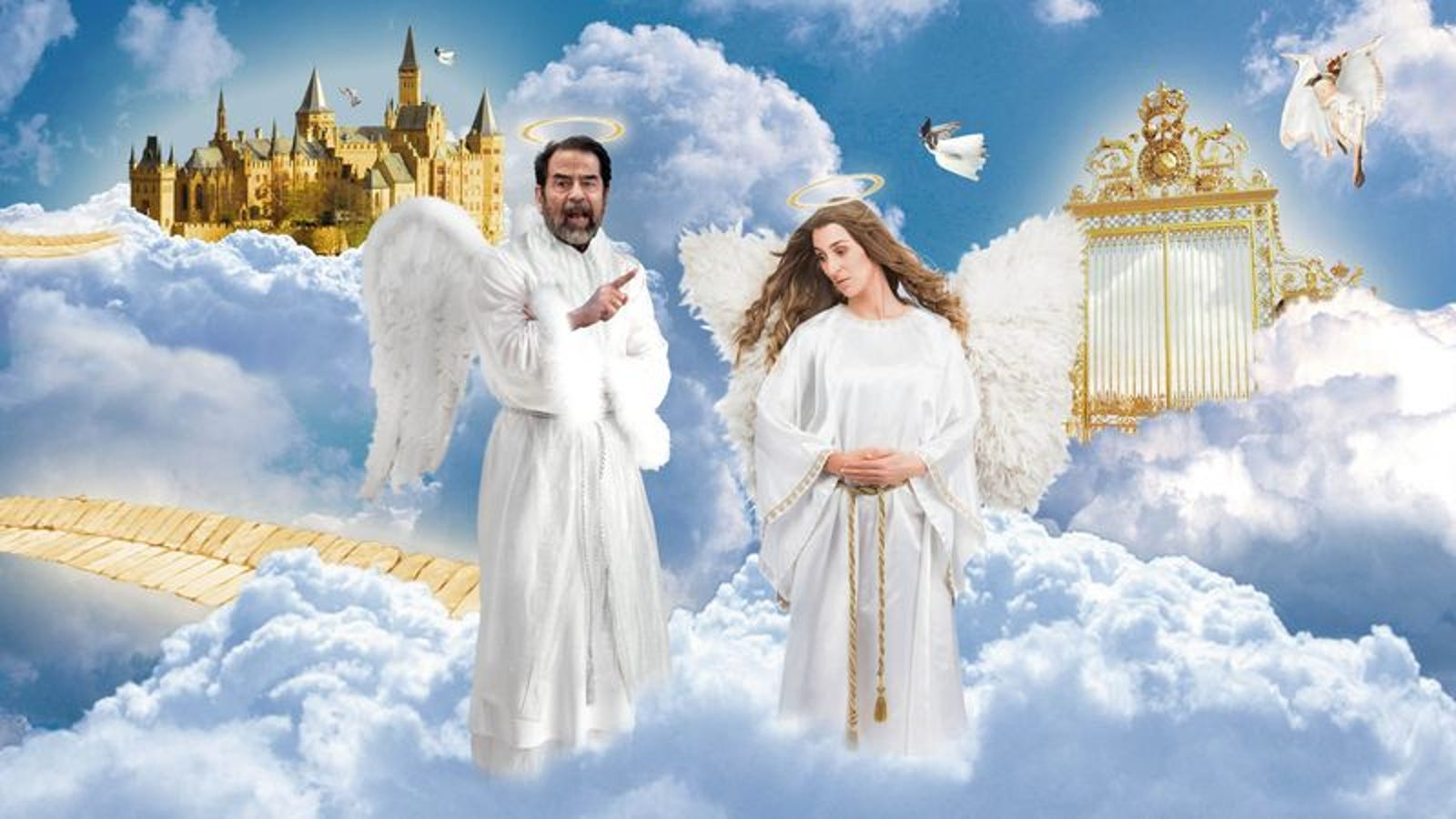 saddam hussein complaining to other angels about all the